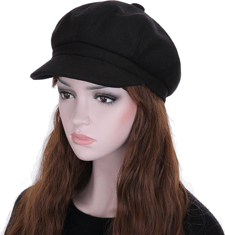 Vglooko pour femme Laine Berets peluches Cap Chapeaux 8/panneaux Baker Boy Plat caches Newsboy Chapeau