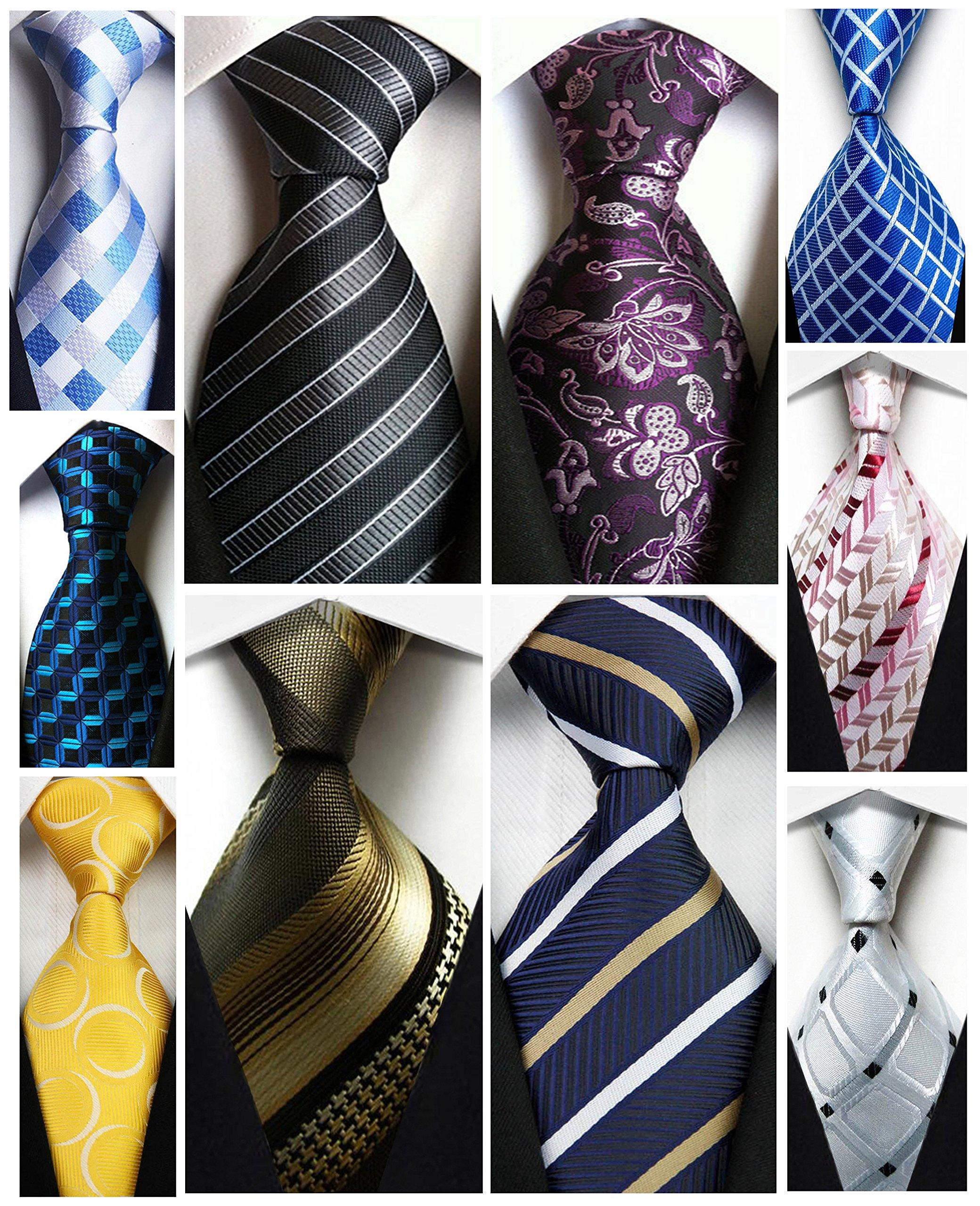 Wehug Lot 10 PCS Men's Ties 100% Silk Tie Woven Slim Necktie Jacquard Neck Ties Classic Ties style002