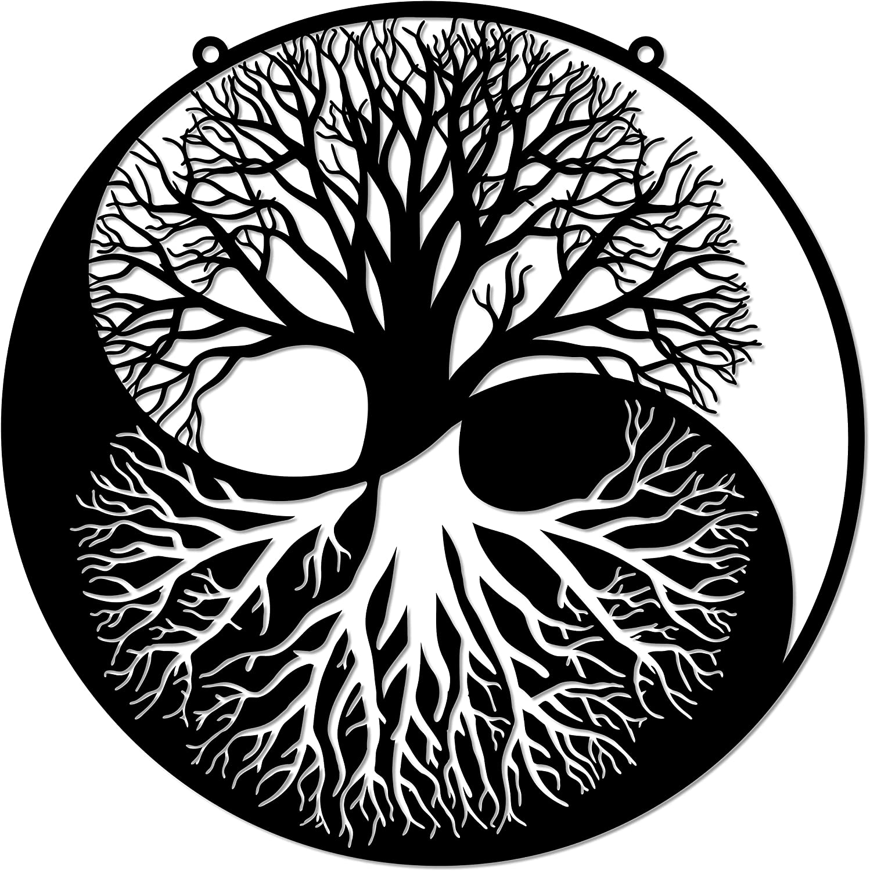 Tree of Life Yin Yang Metal Wall Sign Spirtual Zen Wall Art Family Room Decorative - 3 Sizes / 13 Colors - 14