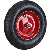 Relaxdays Ersatzrad luftbereift inkl Achse, Luftreifen 200 kg Tragkraft, schwarz-rot Schubkarrenreifen 4.80 4.00-8