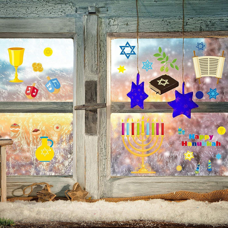 Outus Accroche de Fen/être de Hanoukka D/écalcomanies Fen/être Menorah EET /Étoile de David D/écorations de Hanoukka en Vinyle pour Portes Coulissantes en Verre