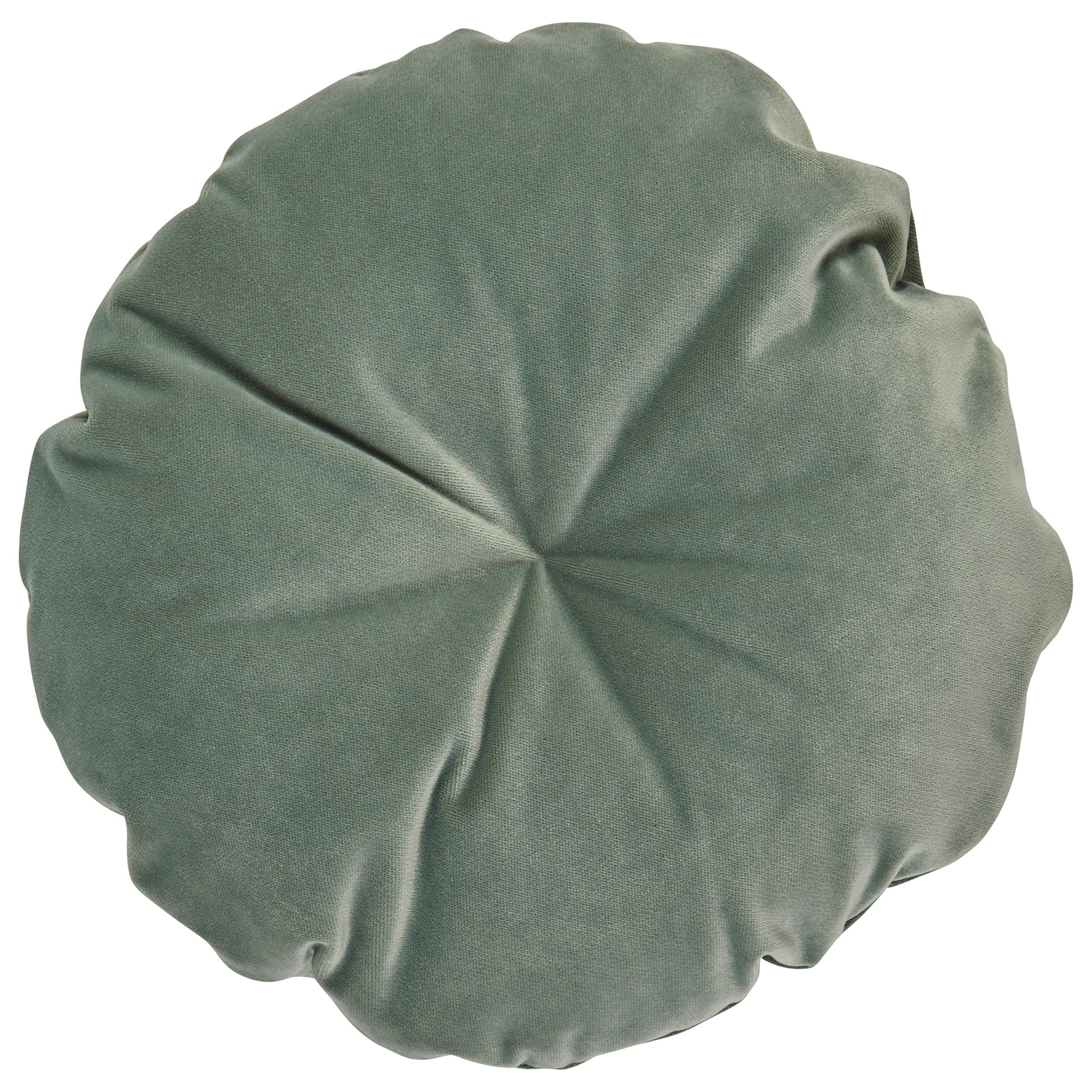 Rivet Mid-Century Round Velvet Throw Pillow - 16 x 16 Inch, Aqua by Rivet