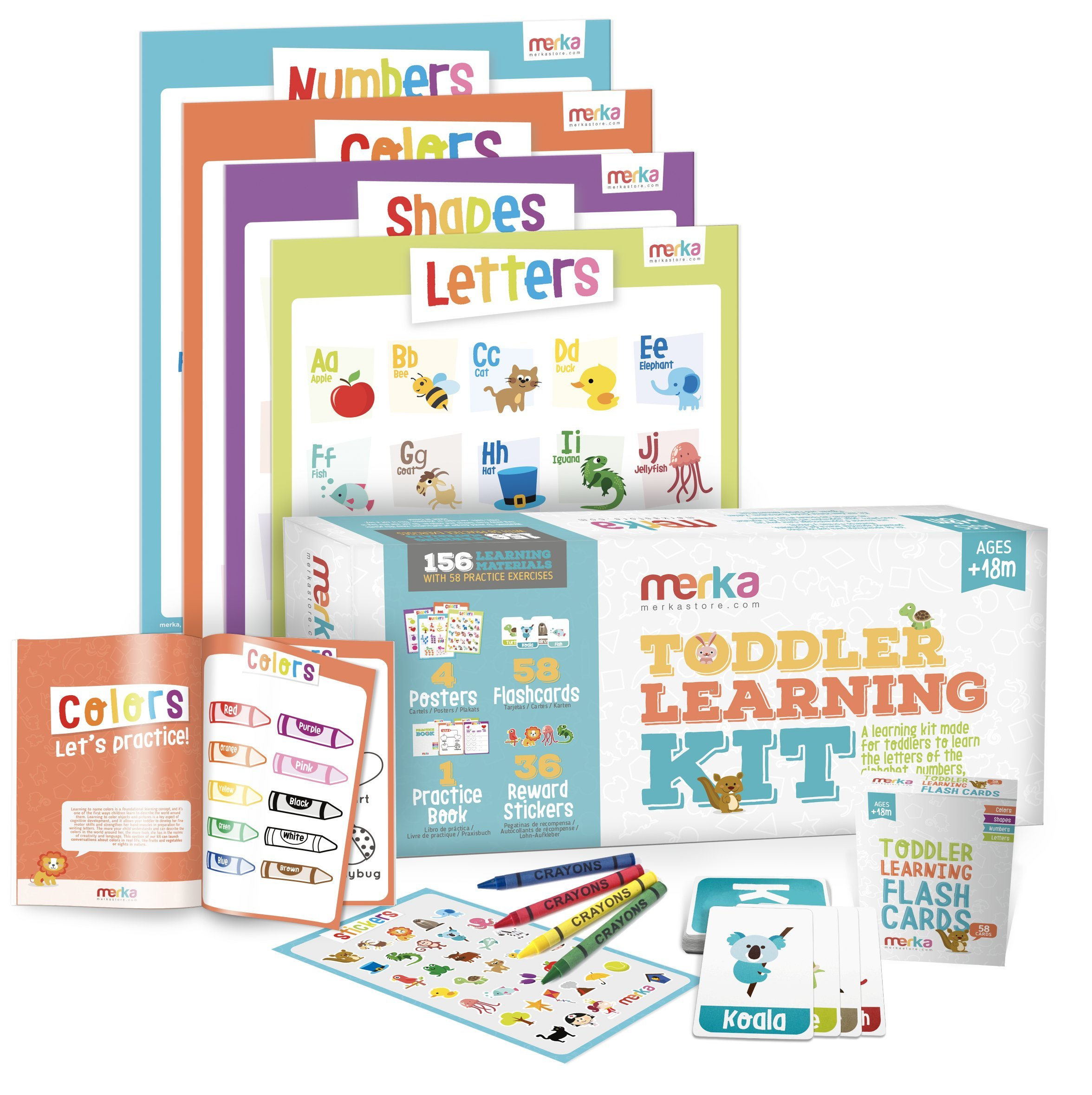 merka Toddler Learning Kit - Includes 4 Posters, 58 Flashcards, 58 Practice Book Exercises and 36 Reward Stickers - Learn Letters, Colors, Shapes and Numbers - PreK & K by merka