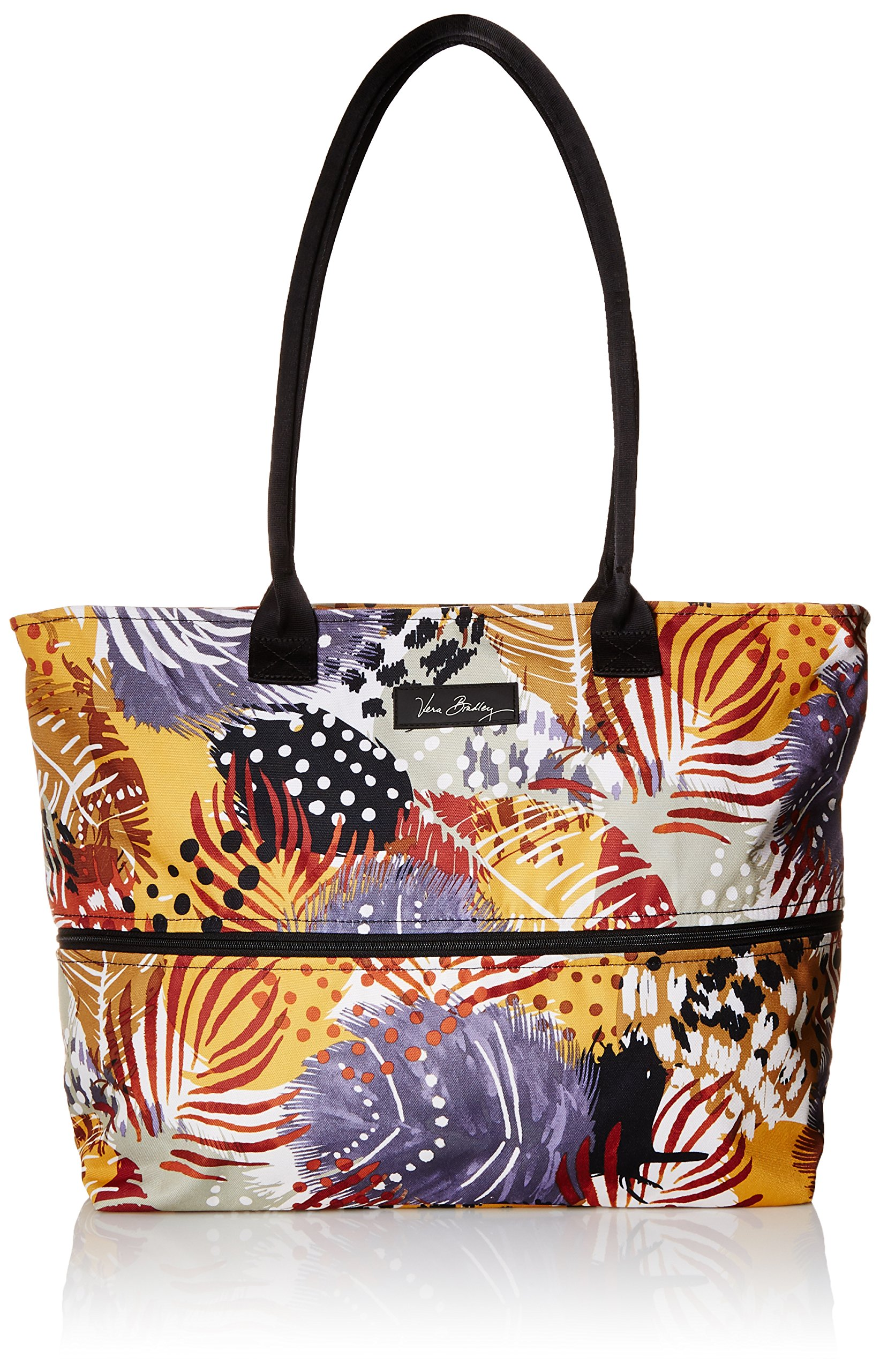 Vera Bradley Women's Lighten up Expandable Travel Tote, Painted Feathers