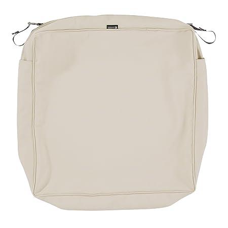 Classic Accessories Montlake Patio Seat Cushion Slip Cover, Antique Beige, 25x25x5