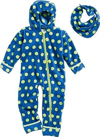 Playshoes Unisex Baby Set Fleece-overall Punkte mit Dreickstuch Bekleidungsset