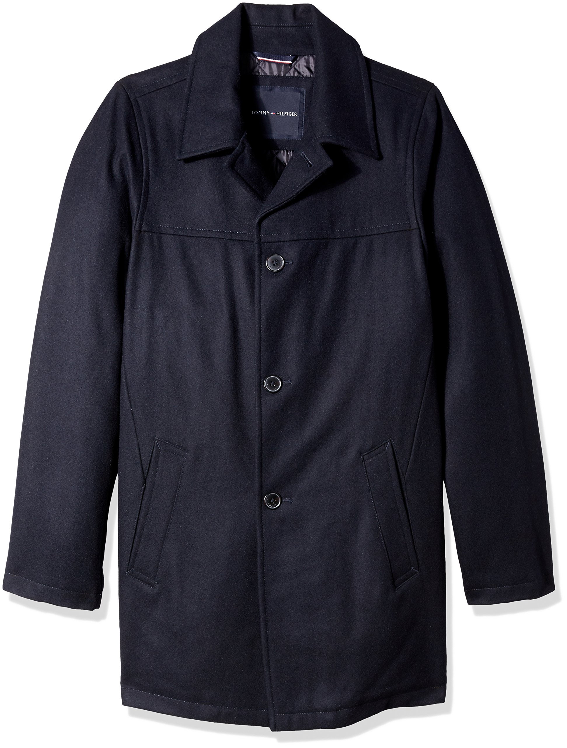 Tommy Hilfiger Men's Size Wool Melton Walking Coat with Detachable Scarf, Navy, Long/Tall by Tommy Hilfiger