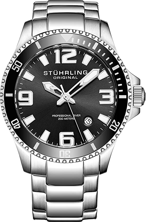 Stuhrling Original Mens Swiss Quartz Stainless Steel Sport Analog Dive Watch