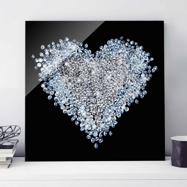 Liquid glass art tree glitter swarovski crystals new photo picture print on glass wall art diamond heart square 11 print on jeuxipadfo Images