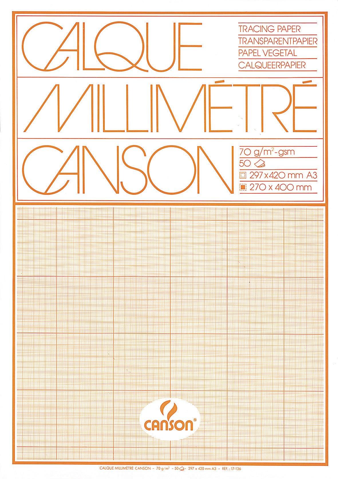 Canson 17136 Transparent Graph Paper Pad A3 70 g/m² 50 Sheets Orange