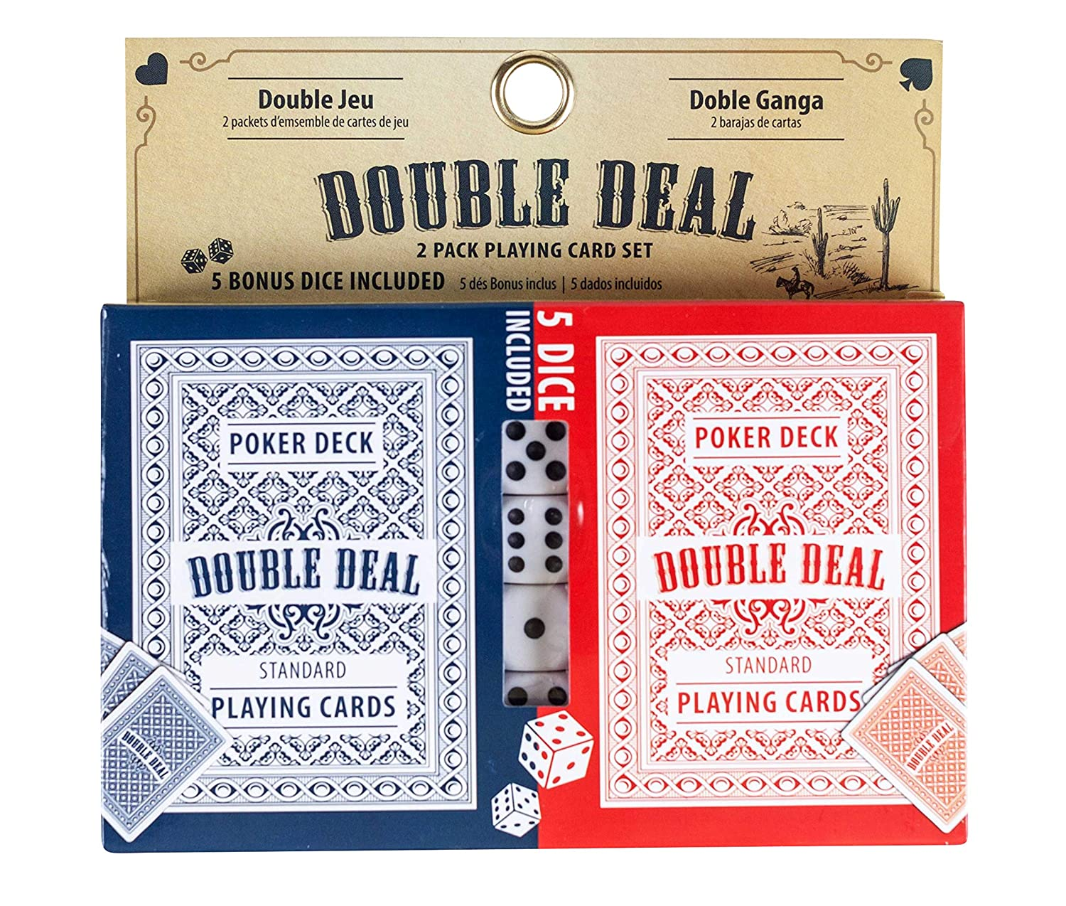 Jacent Double Deal 2 Pack Playing Cards with Bonus 5 Dice - 1 Set
