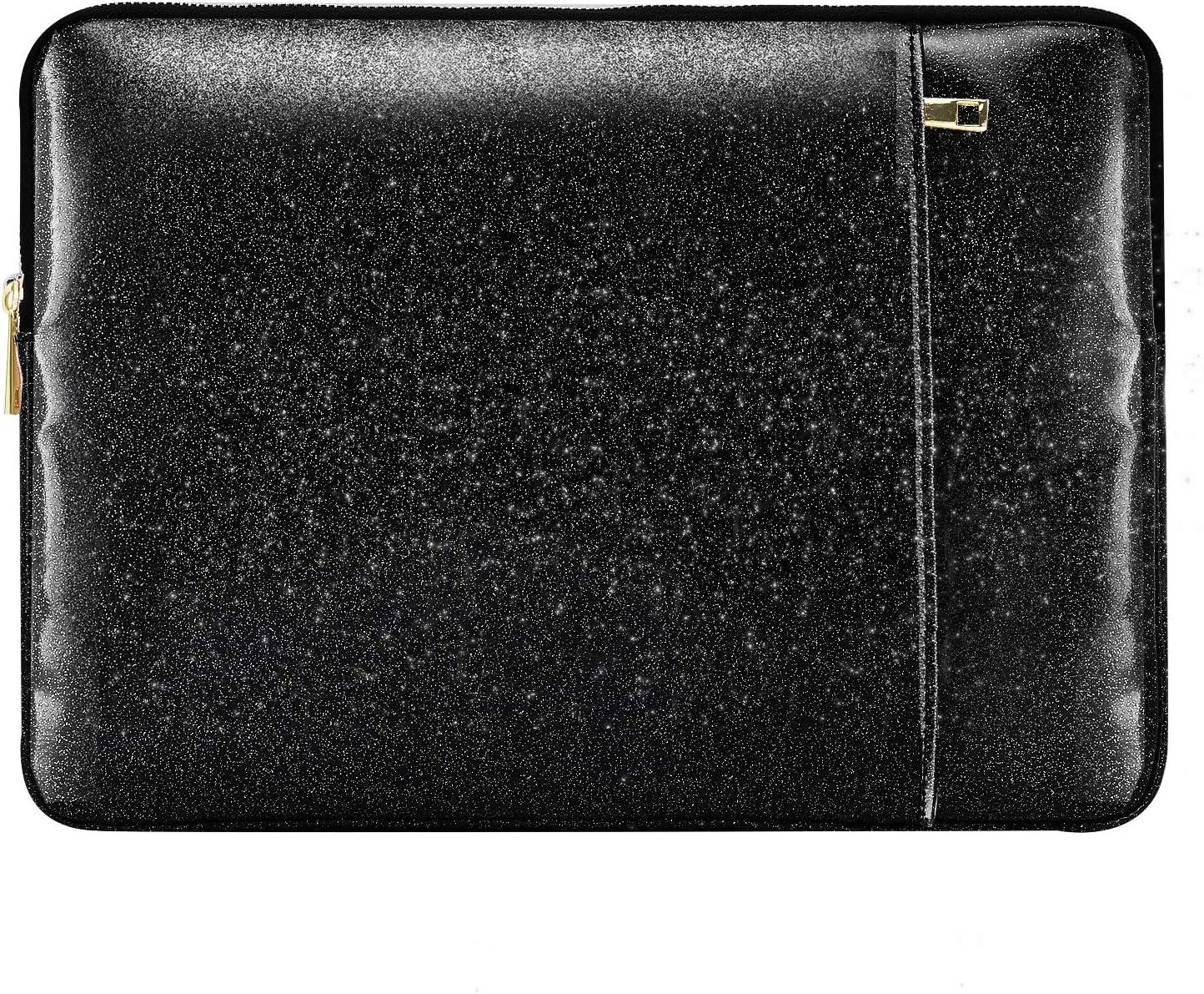 "MoKo 13 Inch Laptop Sleeve Case Bag Fits MacBook Air 13 / MacBook Pro Retina 13 / iPad Pro 12.9 / Surface Pro X 13"", PU Leather Portable Universal Notebook Case Waterproof Bag - Shining Black"