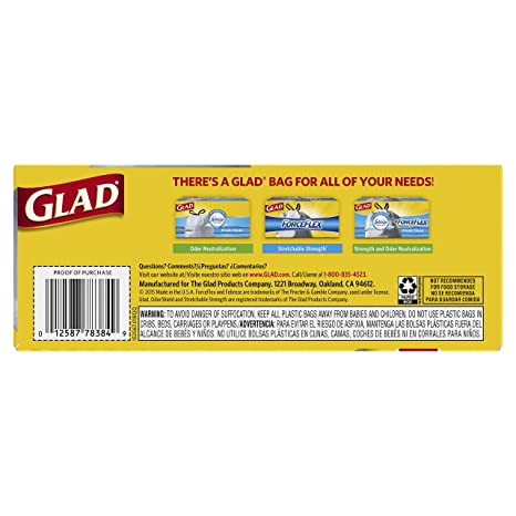 Glad Kitchen Trash Bag 13 Gal. 0.9mil White 22 Bags / Box