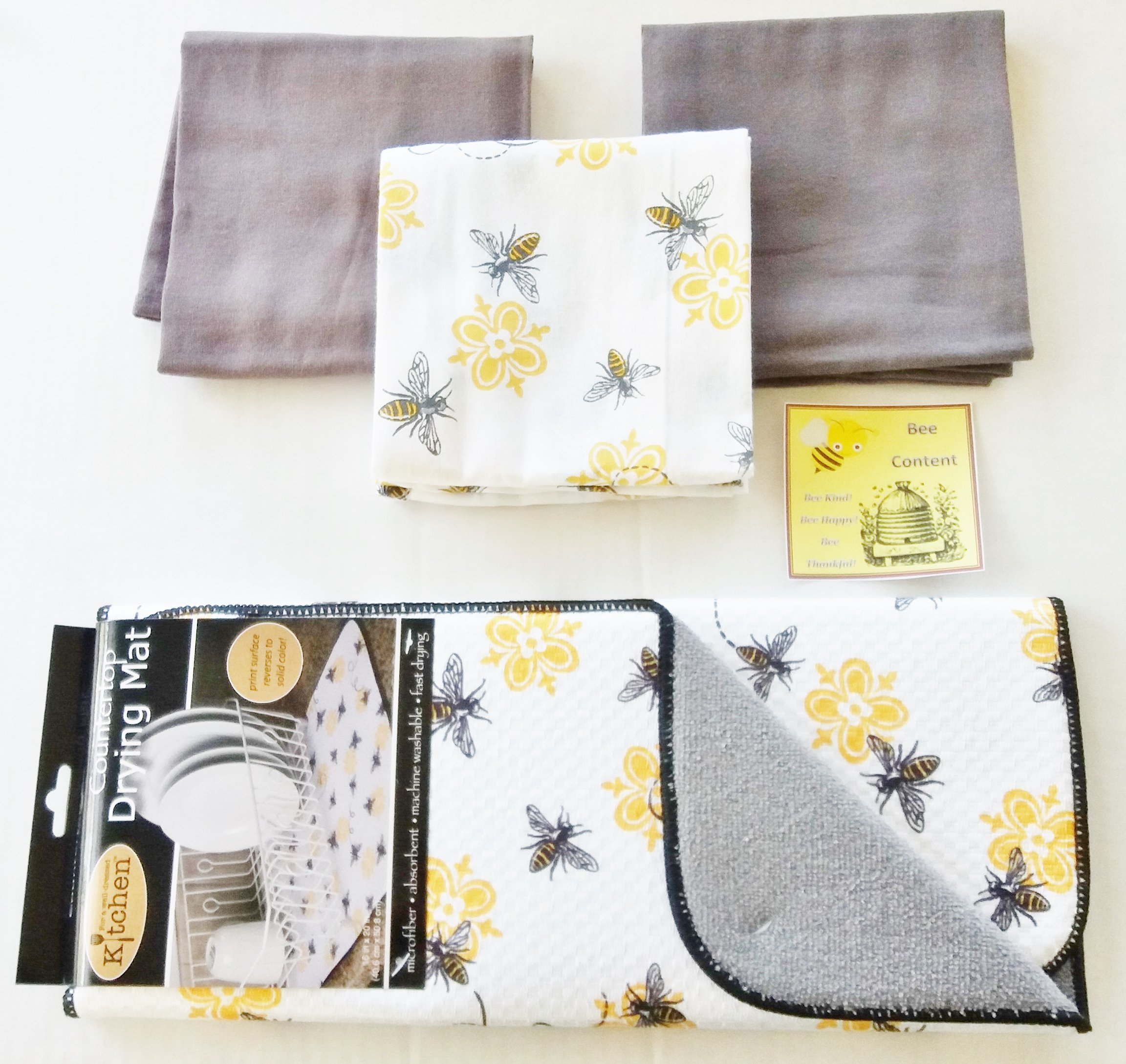 Bumble Bee 3-Piece Dish Towel and Dish Drying Mat (Queen Bee Print) and bonus magnet