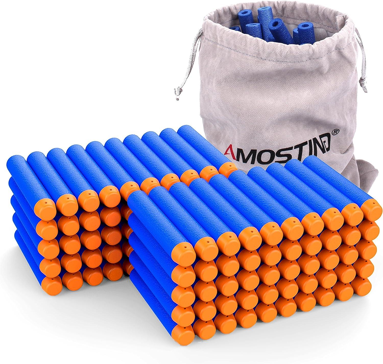 AMOSTING Refill Darts 100PCS Bullets Ammo Pack for Nerf N-Strike Elite Series – Blue