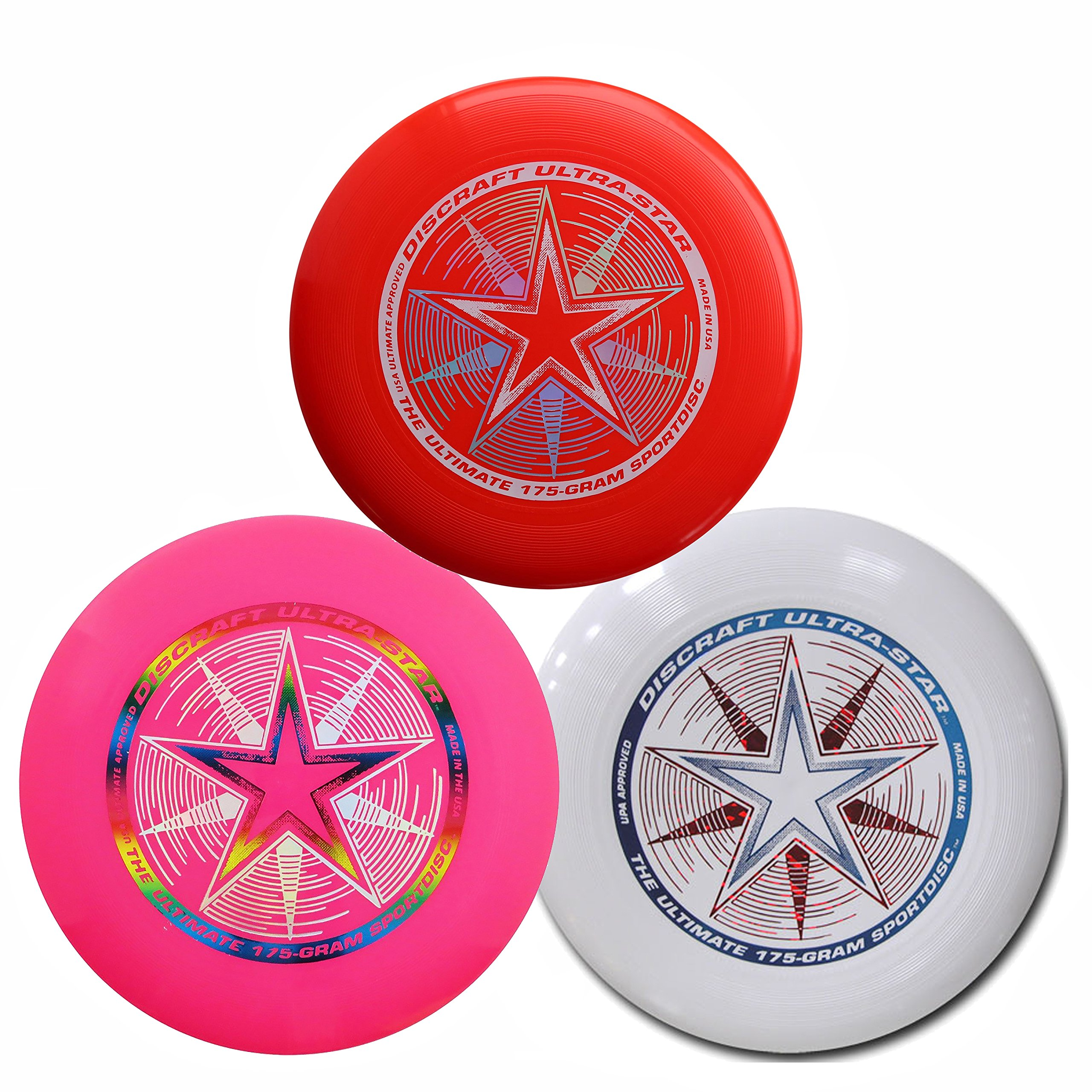 Discraft 175g Ultimate Disc Bundle (3 Discs) Red, White & Pink