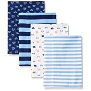 Gerber Baby Boys' 4 Pack Flannel Burp Cloths, Transportation, One Size