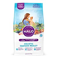 Amazon.com deals on Halo Natural Dry Cat Food, Sensitive Stomach Seafood Medley