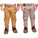 ADBUCKS Boys Cotton Cargo Pants (Pack of 2)