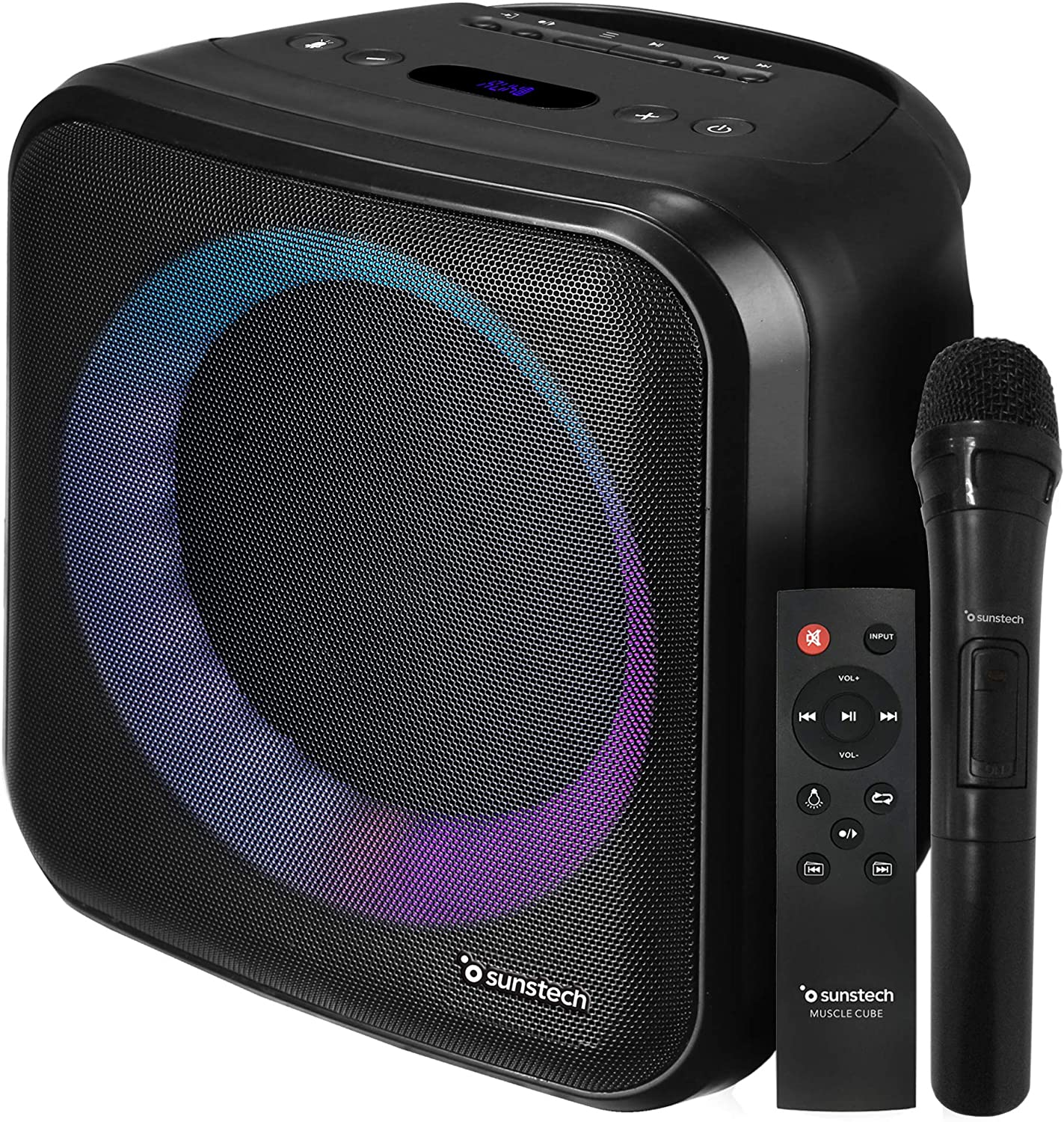 SUNSTECH Muscle Cube. Altavoz 20 W, iluminación LED, Bluetooth 5.0, Radio FM, USB, Micro SD, aux-in, aux-out. Conexiones Guitarra y micrófono. Mando a Distancia y micrófono incluidos. Color Negro