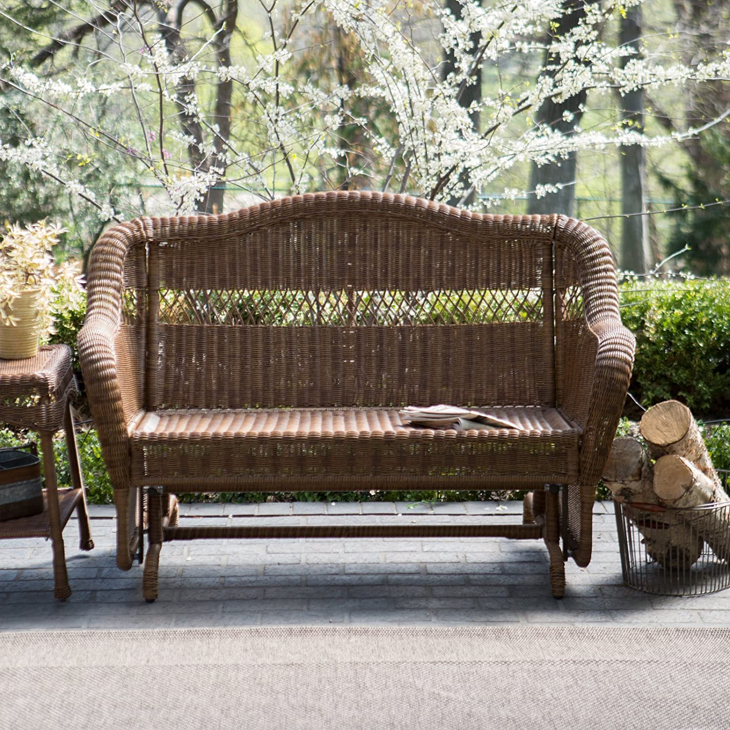 Perfect Amazon.com : Coral Coast Casco Bay Resin Wicker Outdoor Glider Loveseat : Patio  Gliders : Garden U0026 Outdoor