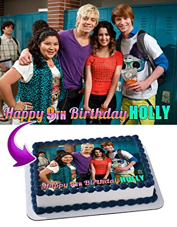 Edible Topper Austin And Ally Birthday Cake Personalized Toppers Frosting Photo Icing Sugar