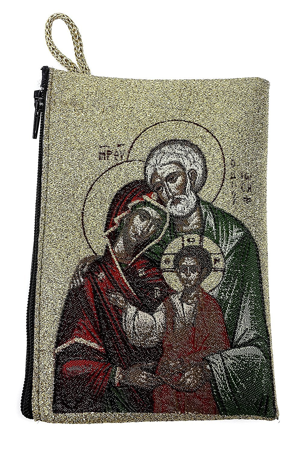 Icon Case Pouch Coin Purses Tapestry Prayer With Holy Family 5.7'' by Holy Land Gifts
