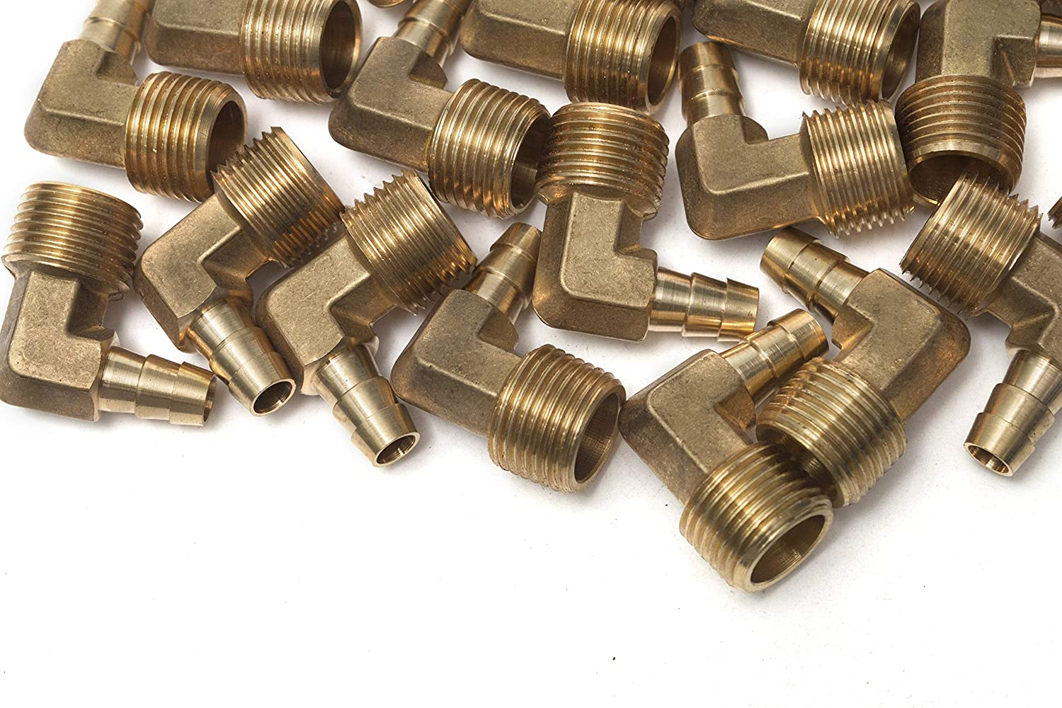 Generic 90 Degree Elbow Brass Barb Fitting 1//4 ID Hose x 1//8 Male NPT Air Pack of 5