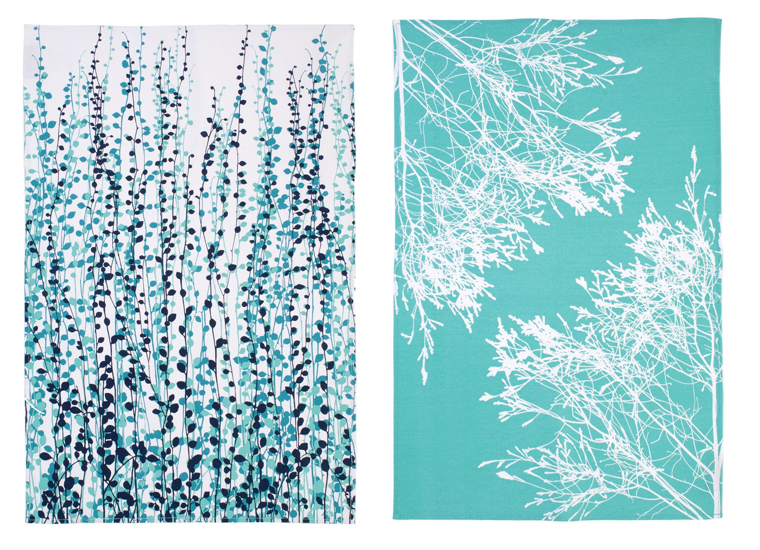 Ulster Weavers Clarissa Hulse CH Blue Fynbos Cotton Tea Towel, 2 Pack by Ulster Weavers