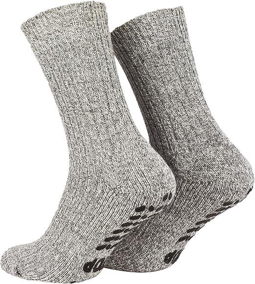 2 Paar Stoppersocken mit Frotteesohle ABS Socken Damen Herren Anti Rutschsocken mit Noppen aus Schafwolle Wintersocken