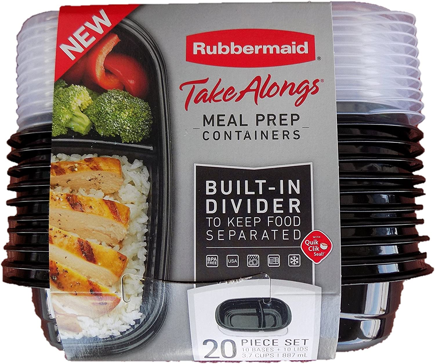 Rubbermaid Take Alongs Divided Base Container (Black, 10)