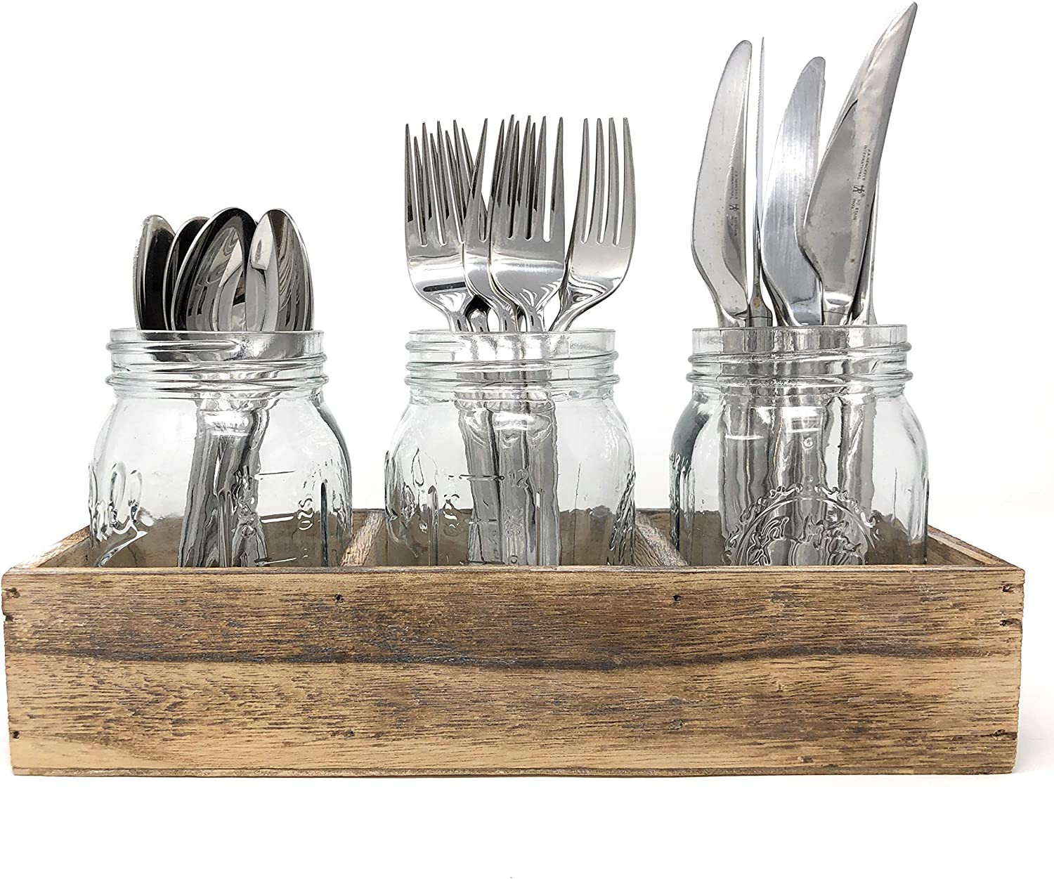 Flatware Caddy Cutlery Holder Utensil Organizer with 3 Glass Mason Jars in Farmhouse Rustic Style Wood Tray For Silverware Display on Kitchen Countertop, Dining Table and Party (Rustic Wood)