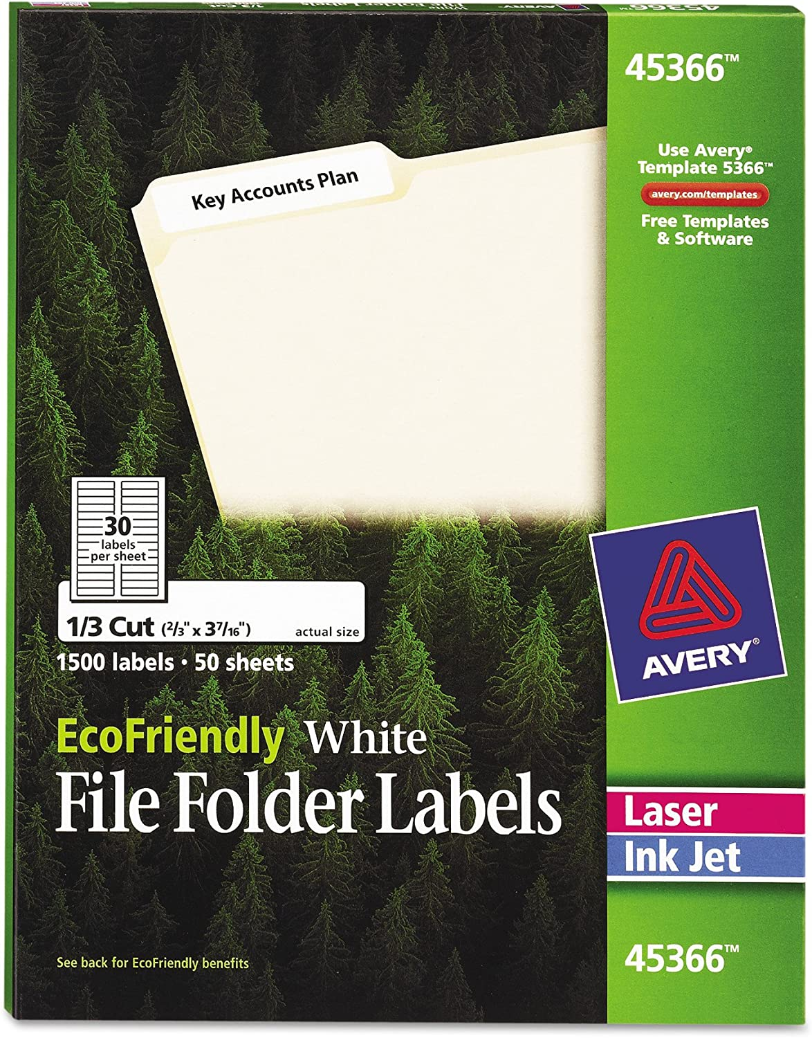 AVERY White EcoFriendly File Folder Labels, 0.66 x 3.437 Inches, Box of 1500 (45366)