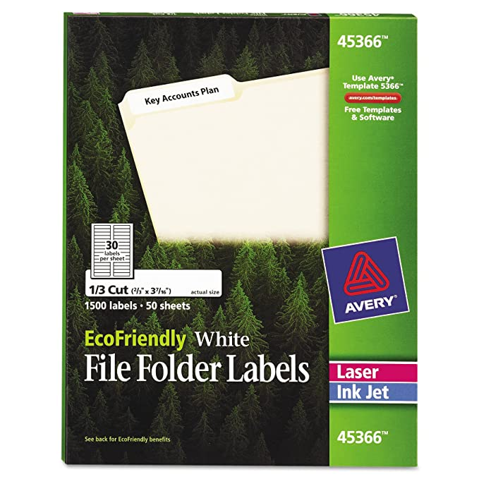 Amazon Avery White Ecofriendly File Folder Labels 066 X
