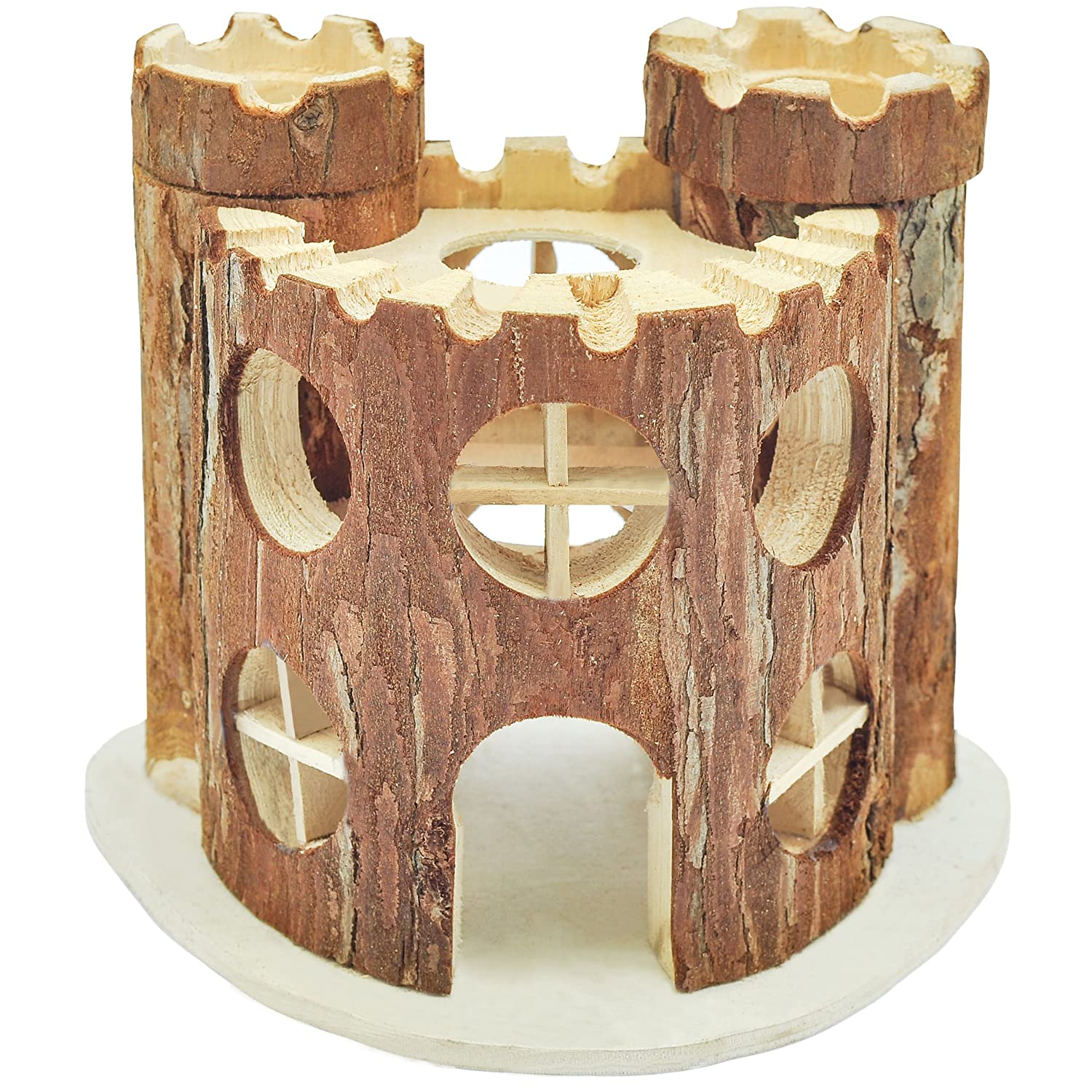 NiteangeL® Natural Living Wooden Castle, Small Animal Playground, 2-Level House