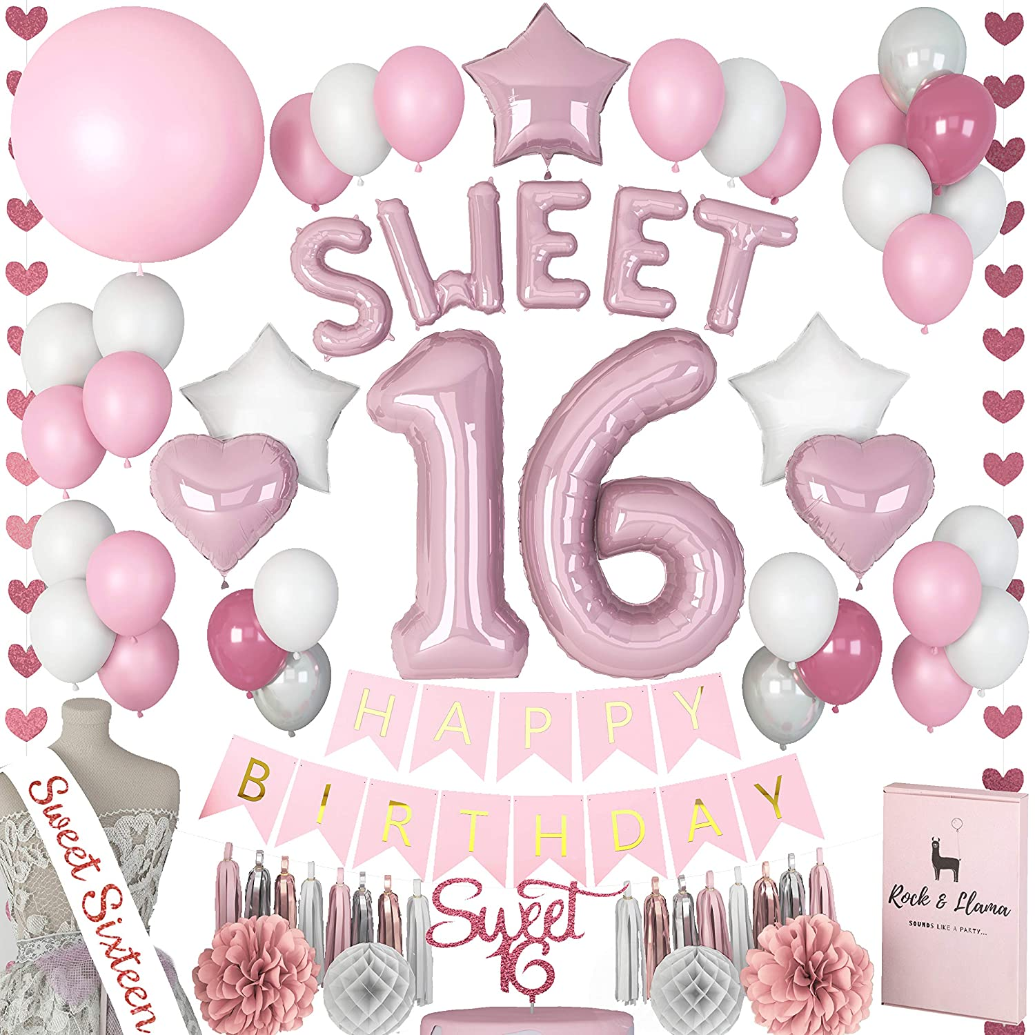 Amazon Stunning Sweet 16th Birthday Decorations Party Supplies SASH SWEET Letter Balloons Sixteen Cake Topper