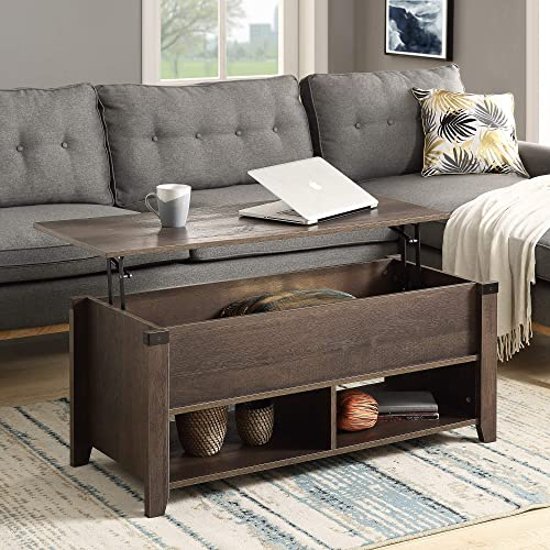 Goujxcy Lift Top Coffee Table, Modern Home Living Room Coffee Table with Hidden Compartment and Storage Shelves Laptop Pop-Up Storage Cocktail Table for Home, Living Room