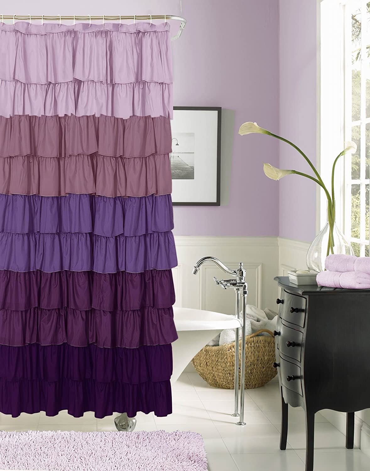Country ruffled shower curtains - Amazon Com Dainty Home Flamenco Ruffled Shower Curtain 72 By 72 Inch Purple Home Kitchen