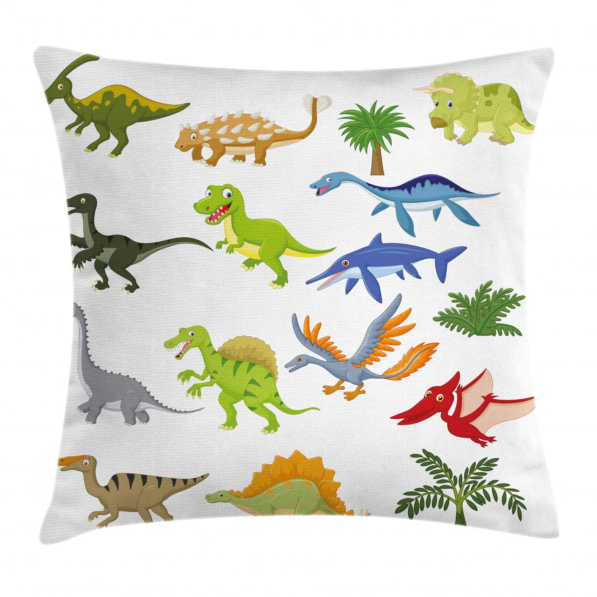 Lunarable Boy's Room Throw Pillow Cushion Cover, Cartoon Dinosaur Images with Other Elements from Jurassic Fauna Cute Creatures, Decorative Square Accent Pillow Case, 16 X 16 Inches, Multicolor