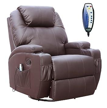 Cuero pegado FoxHunter Cine masaje reclinable sillón sofá ...