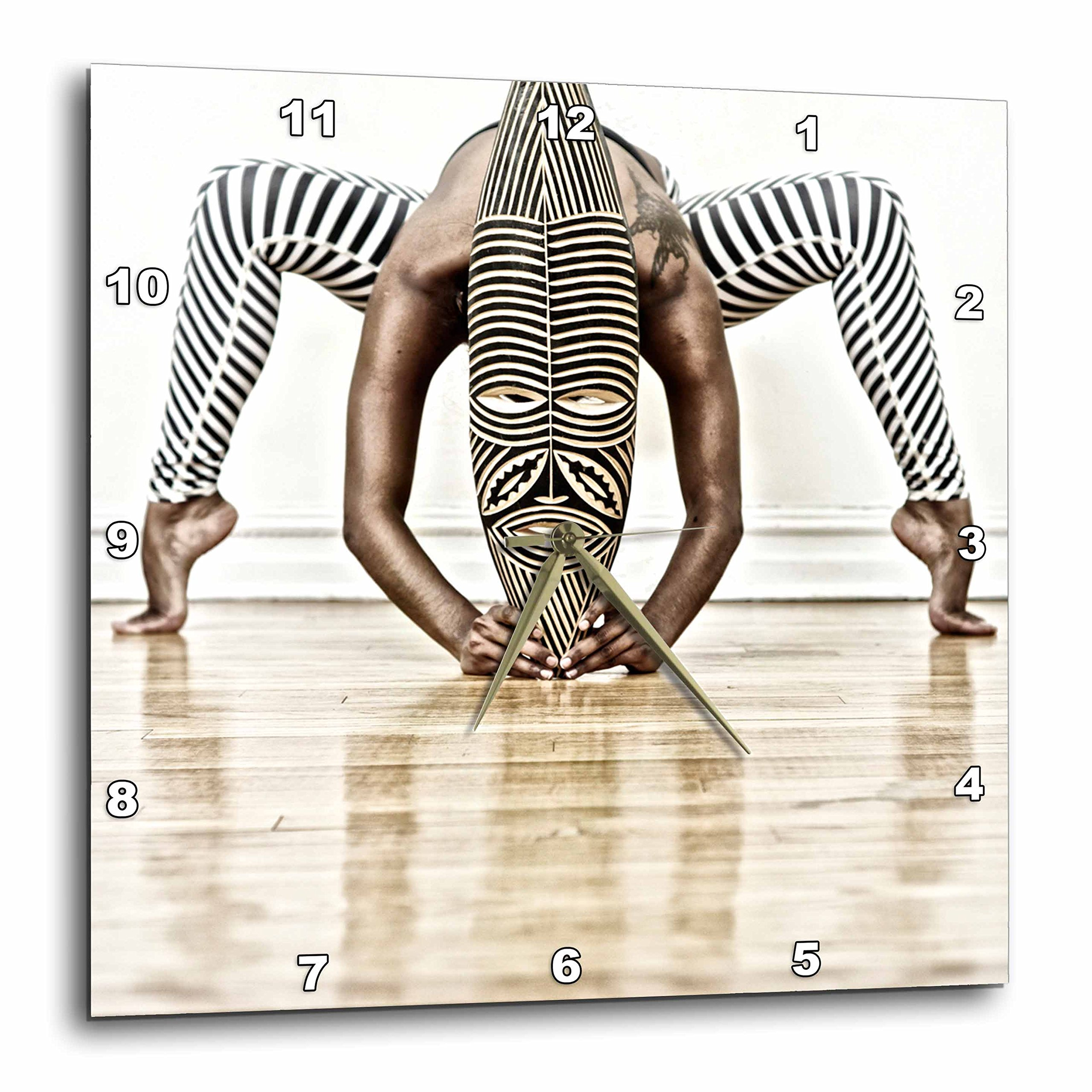 3dRose Yoga and Dance with African Wooden Mask with Zebra Design - Wall Clock, 10 by 10'' (DPP_219770_1)