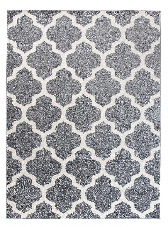 Orientalisches Marokkanisches Teppich - Dichter und Dicker Flor Modern Designer Muster - Ideal Für Ihre Wohnzimmer Schlafzimmer Esszimmer - Grau Weiß - 160 x 220 cm Casablanca Kollektion von Carpeto