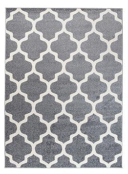 grande tapis de salon gris blanc motif de treillis marocain design moderne - Tapis Gris
