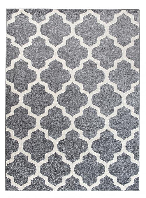 Petit Tapis De Salon - Gris Blanc - Motif De Treillis Marocain - Design  Moderne & Traditionnel - Parfait Pour La Chambre - Plusieurs Coloris &  Tailles ...