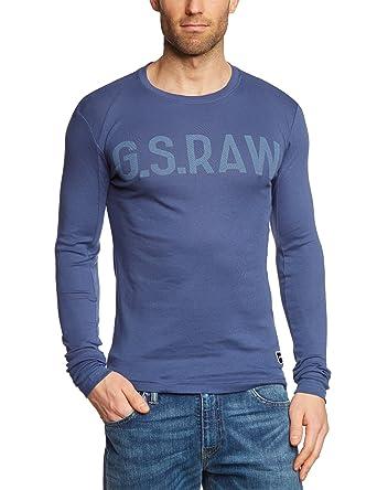 G-star Men s T-Shirt Blue Bleu (Old Delft)  Amazon.co.uk  Clothing cbc83ba3845