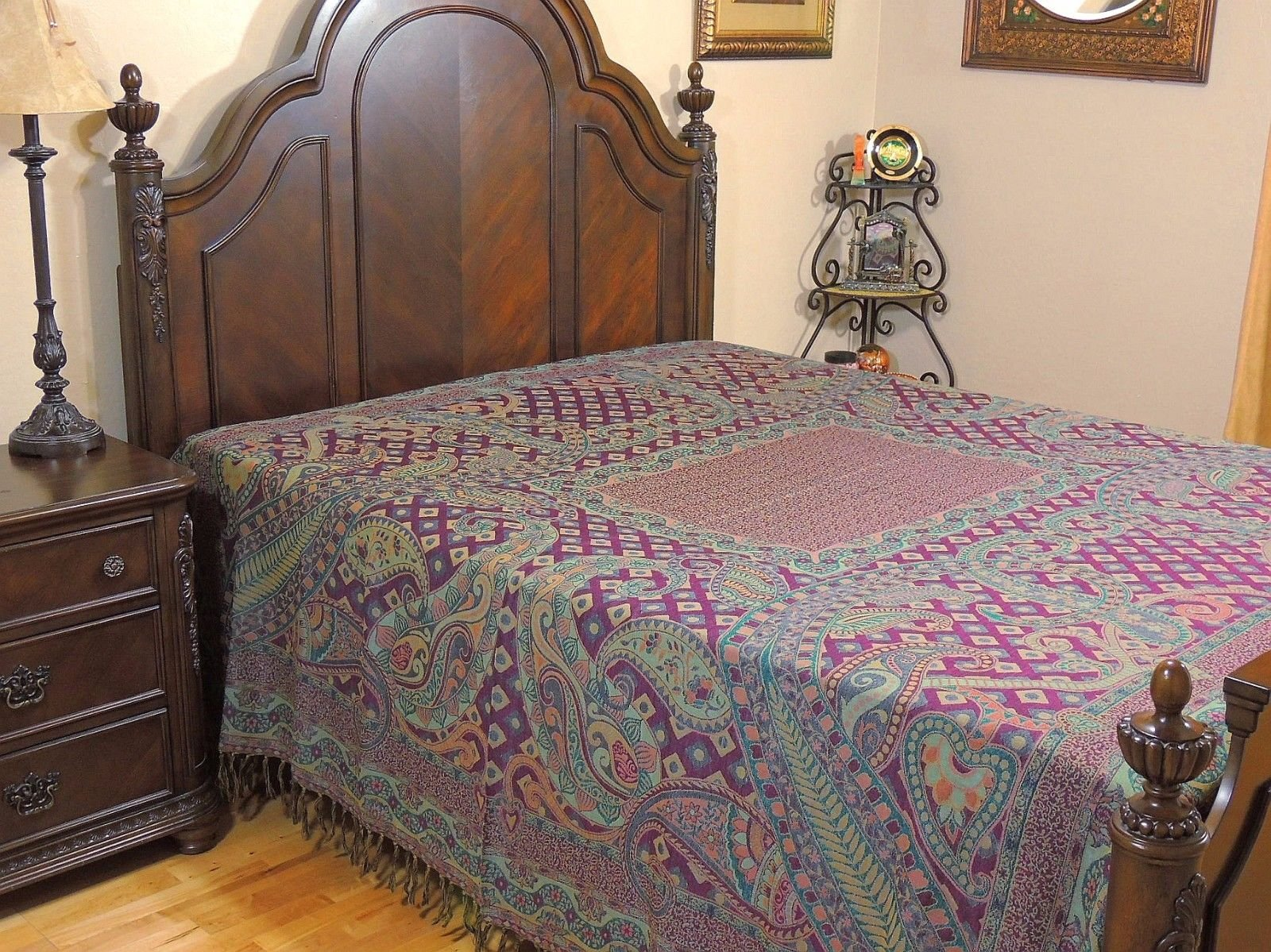NovaHaat Woven Jamavar 100% Wool Rang Mahal (The Palace of colors) Purple, Teal and Taupe REVERSIBLE Bedspread with Paisley & Floral motifs from India: Size - Queen 90'' x 108'' or Use as Huge Throw