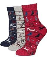 Dosoni Women's Super Thick Soft Merino Wool Winter Socks 3-Pack (BH09 Deer)