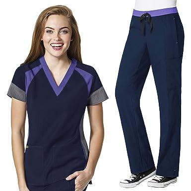 2f540308971 Amazon.com: Four-Stretch Women's Color Block V-neck Top & Straight ...