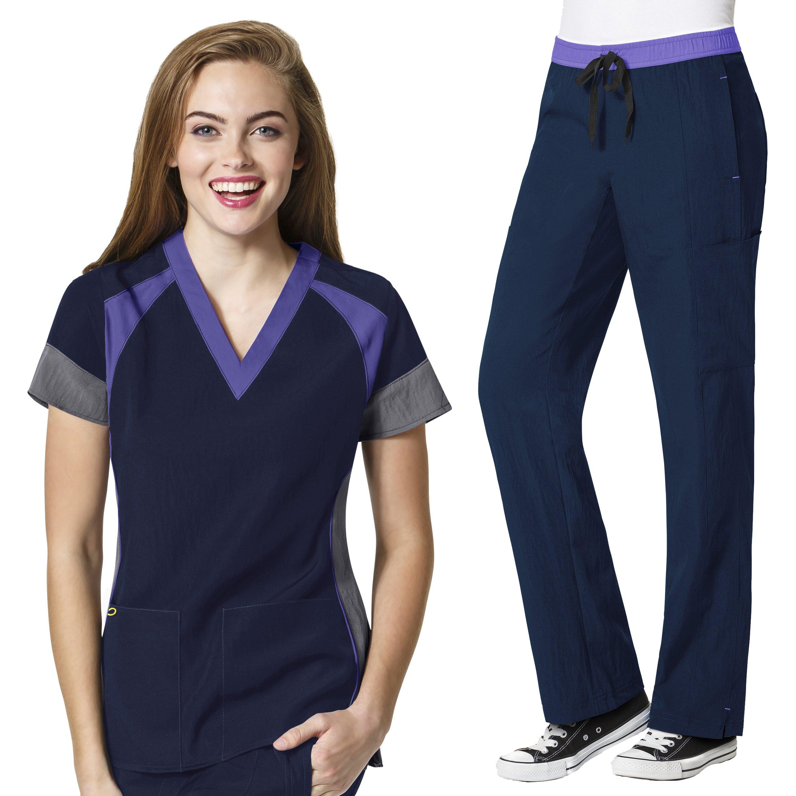 Four-Stretch Women's Color Block V-neck Top & Straight Leg Cargo Pant Scrub Set+ FREE GIFT [XS - 3XL]