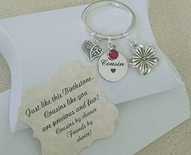 Gifts For Cousin Personalized Keychain Birthstone Charm Is As Big A